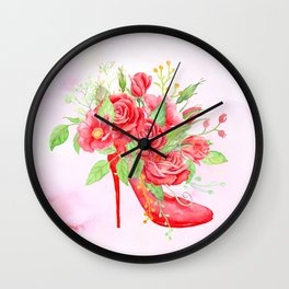 Watercolor Red Rose Shoe Wall Clock