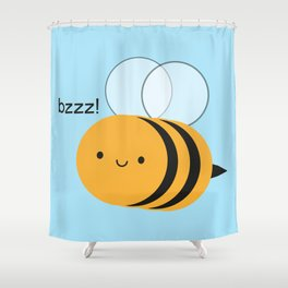 Kawaii Buzzy Bumble Bee Shower Curtain