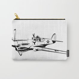 P-40 Curtiss Wright Warhawk Rock On WWII Shark Airplane Pilot Carry-All Pouch