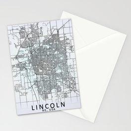 Lincoln, NE, USA, White, City, Map Stationery Cards