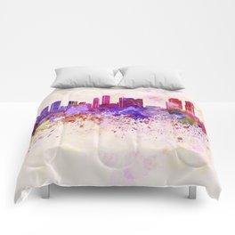 Rotterdam skyline in watercolor background Comforters
