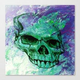 Purple and Green Skull Print Canvas Print