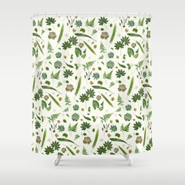 Love Your Greens on Parchment Cream Shower Curtain