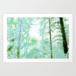 Magical forest in frosty greens Art Print