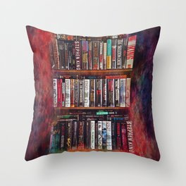 Stephen King Books on Shelves Throw Pillow