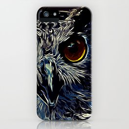 owl strix bird v2 vector art foggy night iPhone Case