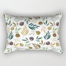 Olive and Leaves Autumn Seamless Pattern Rectangular Pillow