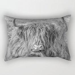 Black and white big Scottish Highland cow Rectangular Pillow