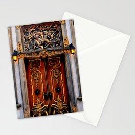 Beautiful Gdańsk Poland Angel Motif Doorway at Twilight Stationery Cards
