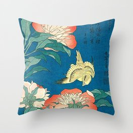 Katsushika Hokusai Peonies and Canary 1834 Throw Pillow
