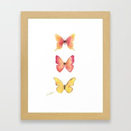 Butterflies Illustration Watercolor - Warm colors Framed Art Print
