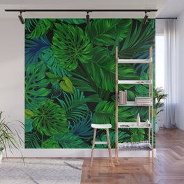 Fancy Tropical Floral Pattern Wall Mural