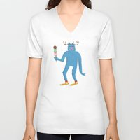 sasquatch V-neck T-shirts featuring sasquatch by Thom BRANSDON Illustration