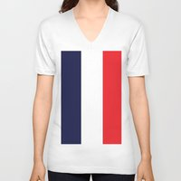 france V-neck T-shirts featuring France by shannon's art space
