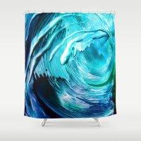 surfing Shower Curtains featuring Surfing by ART de Luna