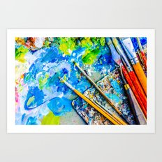 Palette And Brushes Art Print