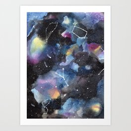 Galaxy sky in watercolors with star constellations Art Print