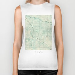 Tucson Map Blue Vintage Biker Tank