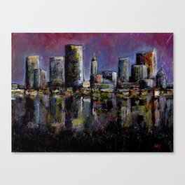 Neon City Acrylic Painting Canvas Print