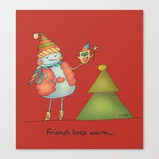 Friends keep warm - red Canvas Print