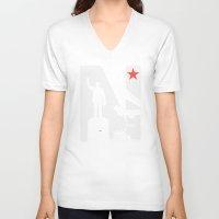 1975 V-neck T-shirts featuring Neto 11Nov 1975 Black by O ilusionista