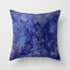 Night Sky Galaxy Nebula Stars Watercolor Space Texture Throw Pillow