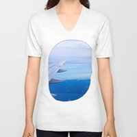 airplane V-neck T-shirts featuring Airplane by Gunjan Marwah