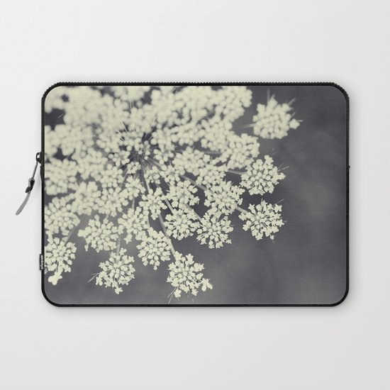 Black and White Queen Annes Lace Laptop Sleeve