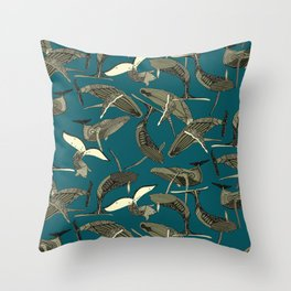 just whales blue Throw Pillow