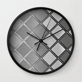 Silver Metallic Geometric Squares Pattern Wall Clock