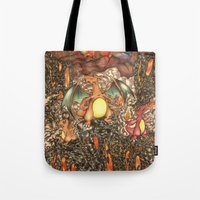 charizard Tote Bags featuring charizard war  by IceDragon15