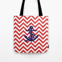 Blue Anchor on Red and White Chevron Pattern Tote Bag