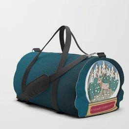 Merry Christmas Snowglobe Reindeer Duffle Bag