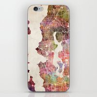 seattle iPhone & iPod Skins featuring Seattle by MapMapMaps.Watercolors
