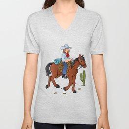 Cowboy on the horse Unisex V-Neck