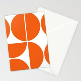 Mid Century Modern Orange Square Stationery Cards
