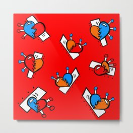 Hearts with Stitches - Blue Red Orange - Bright Red Metal Print