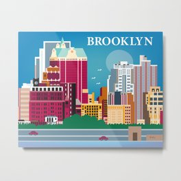 Brooklyn, New York - Skyline Illustration by Loose Petals Metal Print