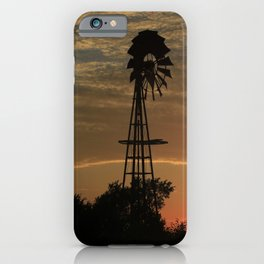 Kansas Windmill Silhouette with a Sunset iPhone Case