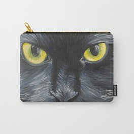 Black Cat with Green Eyes Close Up - Oil Painting Carry-All Pouch