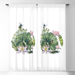 Japanese Water Lilies and Lotus Flowers Blackout Curtain
