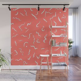 Scribbles in living coral Wall Mural