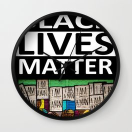 Black Lives Matter - I Am A Man Mural motif Wall Clock