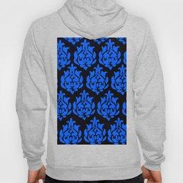 Royal Blue on Black Damask Hoody