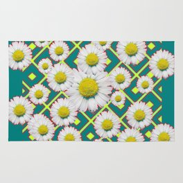 Teal Color Shasta Daisies Lime Pattern Art Abstract Rug