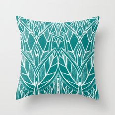 Turquoise Modern Leaves - blue white Throw Pillow
