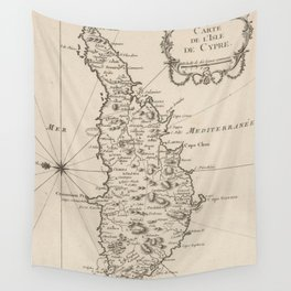 Vintage Cyprus Map (1764) Wall Tapestry