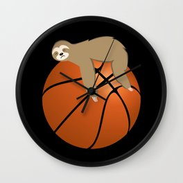 Lazy Sloth Sleeping On A Basketball Ball  Wall Clock