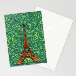 Eiffel Tower Drawing Meditation - orange/green/blue Stationery Cards
