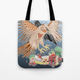 lady hawk and crow Tote Bag